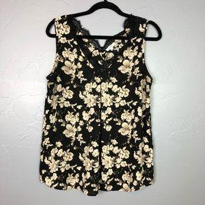 🐢Pleione floral tank blouse size M